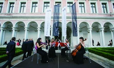 8. A string quartet provided a classical atmosphere