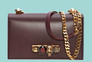 Jewelled Satchel in calfskin, $3,370,Alexander McQueen.