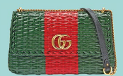 Painted wicker small shoulder bag, $3,910, Gucci.