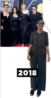 <b>Using graphic accessories to amp up a monochrome ensemble</b> The blackout at the 2018 Golden Globes
