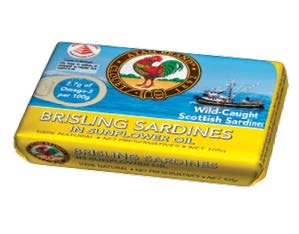 <b>PREMIUM SARDINES</b> Rich in omega-3 fatty acids, the Brisling Sardines in Sunflower Oil have been certified a Healthier Choice by the Health Promotion Board.