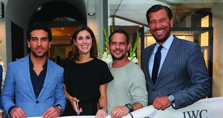 2. Elyas M'Barek, Aline Thomas, Boutique Manager, Moritz Bleibtreu and Henrik Ekdahl, Managing Director, IWC Northern Europe