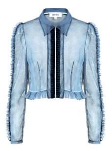 Sheer organza jacket with zip and ruffled hem, $3,460.