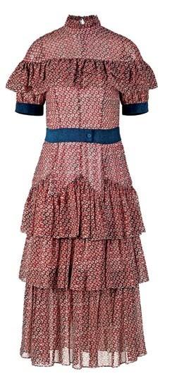 Chiffon tiered dress with ruffles, $5,660.