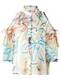 Silk and cotton flower sketch open-shoulder top, $3,460.