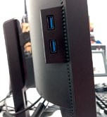 There are a grand total of five USB 3.0 ports, two of which sit off  to the  monitor's side for easy access.