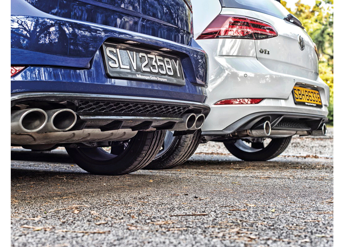 Golf R sports four tailpipes, four-wheeldrive and even hotter performance; Golf GTI is front-drive, fun to drive and hot enough to be an iconic pocket rocket.