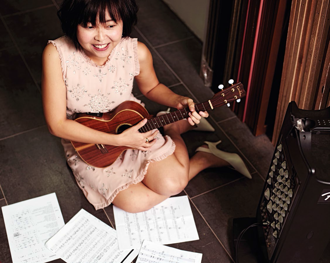Crystal used to play the guitar, but found that it drowned out her damaged voice. She's since switched to the ukulele.
