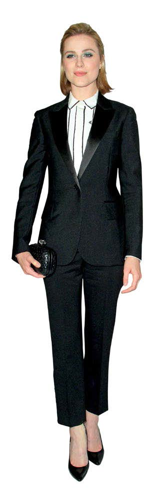 TV actress Evan Rachel Wood looks polished in her Bottega Veneta suit.