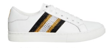 Calf leather sneakers with rhinestones, $425.