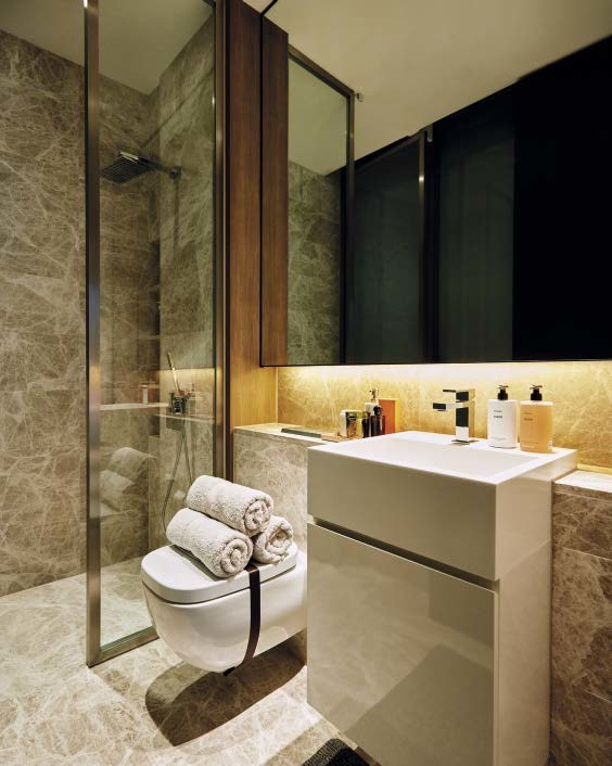 A controlled palette of materials and colours results in a simple, yet elegant, bathroom.