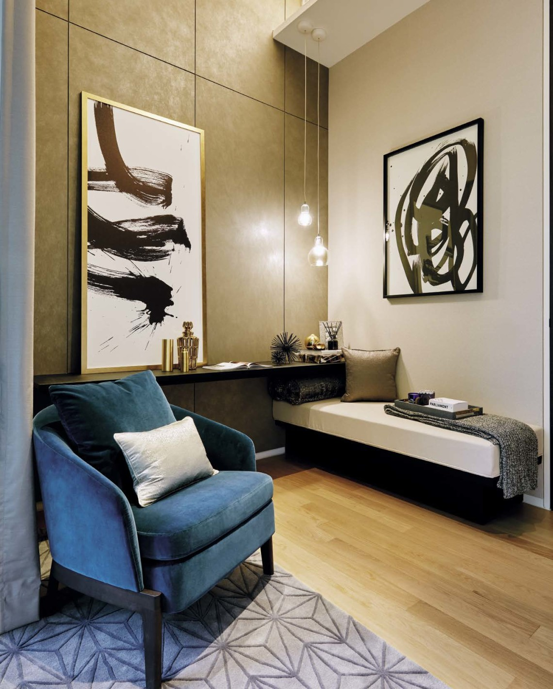 The sitting area in the master bedroom is a  cosy corner for the homeowners to retreat to, before bed.