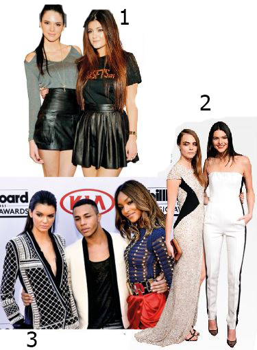 <b>1</b> Kendall and Kylie make a meda appearance in 2012 <b>2</b> Cara and Kendall in 2014, just as Kendall's career hit overdrive <b>3</b> With Balmain's Olivier Rousteing and Jourdan Dunn at the 2015 Billboard Music Awards