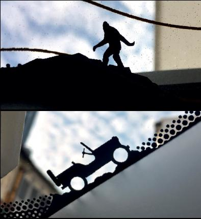 A little Bigfoot (rear windscreen) and a tiny WWII Willys Jeep (front windscreen) play hideand-seek in the Renegade.