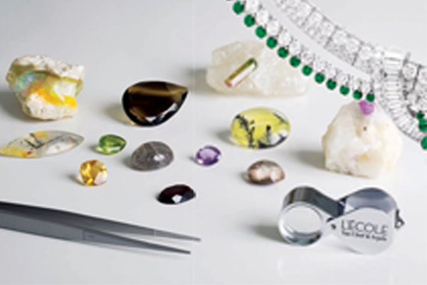 An array of precious stones on display for inspection