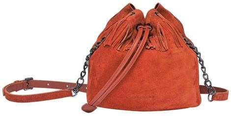 Paris Rock velvet bucket bag, $740, Longchamp.
