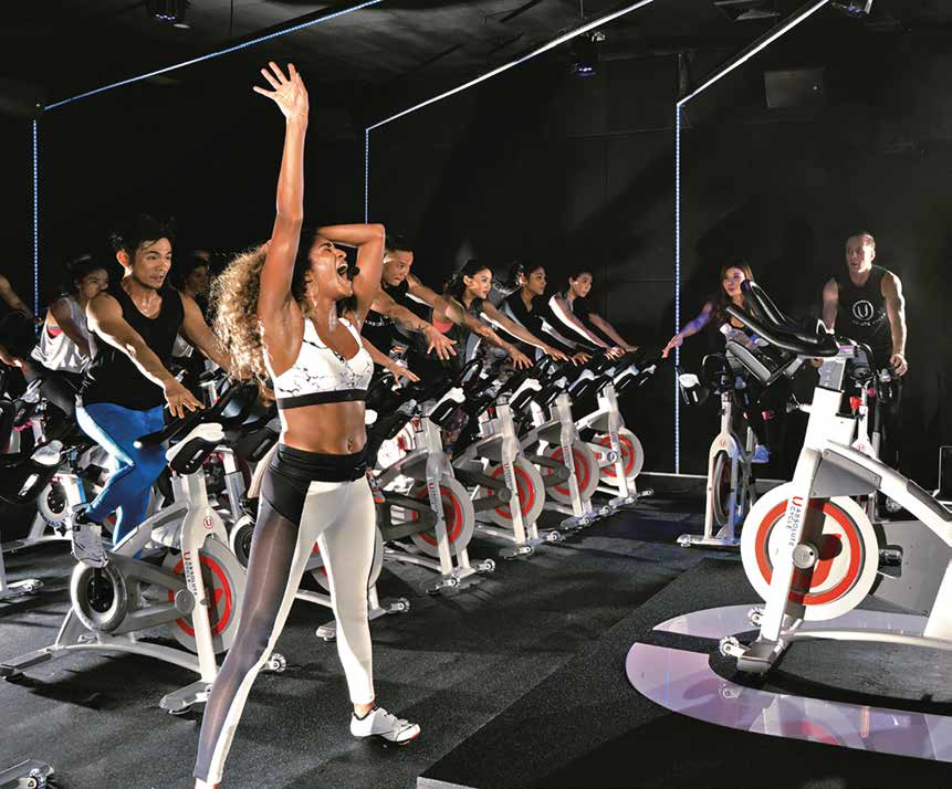 The club-like atmosphere will make you forget you're on a stationary bike.