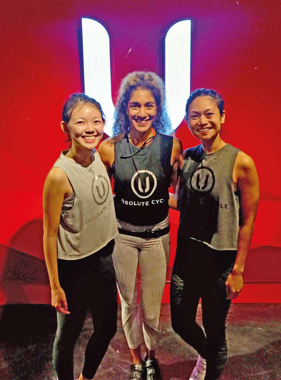 Estelle and Zarelda (right) from Shape took a sweaty picture with instructor Ciara after the class.