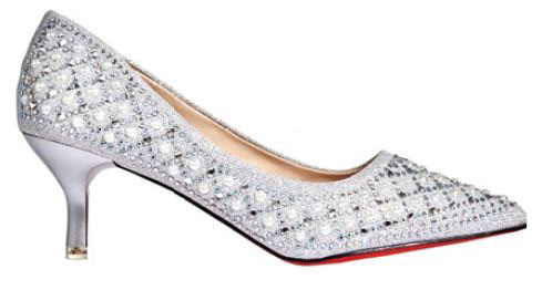 Pumps with rhinestones and faux pearls, $299, High Street Fashion.