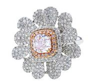 Pink diamond ring set in 18K white gold, $76,800, The Canary Diamond.