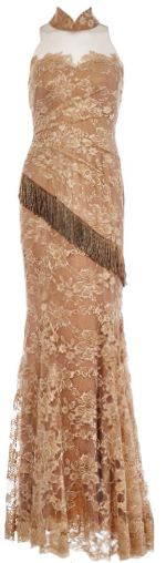 Lace gown with beaded fringe, $6,899, Francis Cheong.