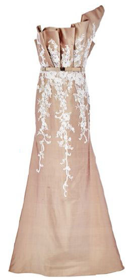 Shantung silk gown with lace, $7,899, Francis Cheong.