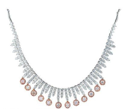 Pink and white diamond necklace, $57,000, The Canary Diamond.