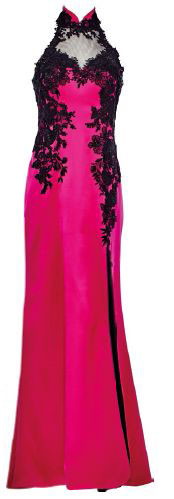 Silk and satin gown with lace applique, $2,998, Ann Teoh.