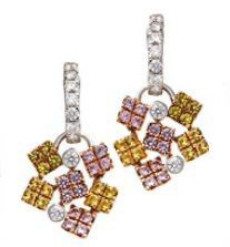 18K white gold earrings with sapphires and diamonds, $5,200, Zyan Jewelry.
