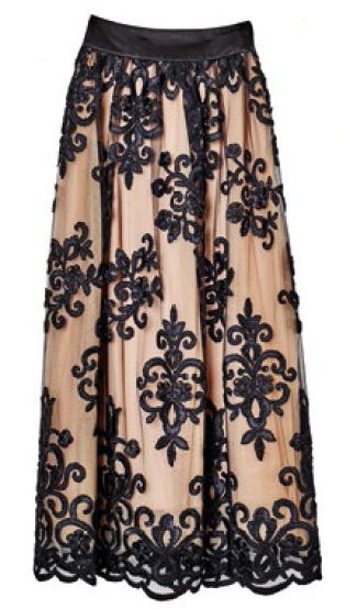 Tulle skirt with ribbon applique, $1,200, Ann Teoh.