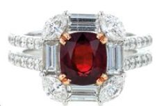 18K white gold ring with diamonds and ruby, $16,600, The Canary Diamond.