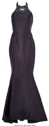 Shantung silk gown with crystal embellishments, $5,899, Francis Cheong.