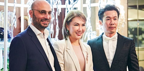 2. From left: Bassam Chehaiber, partner, Yuli Inc. – Fine Jewellery; Jessie Foo, founder, Yuli Inc. – Fine Jewellery; and Dhylan Boey, Group Editor of SPH Magazines.