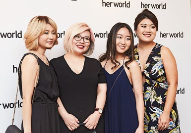2. The Her World beauty team (from left): writer Kayce Teo, senior beauty editor Simone Wu, writer Dione Chen and senior beauty writer Lynnett Yip.