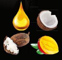 <b>Triple Butter Complex &amp; Argan Oil:</b> (Clockwise from top left) Argan Oil for superior shine; Coconut Butter to condition; Mango Butter to nourish; Shea Butter to hydrate.