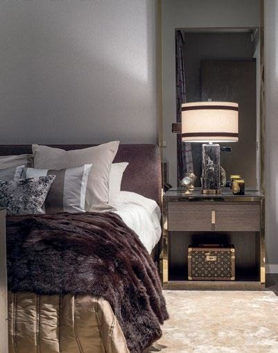The designers enhanced the romantic mood, by using multiple dim light sources for a layered lighting effect.