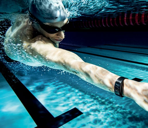 The Samsung Gear Fit2 Pro (available in black or red) is perfect both on the road and underwater.