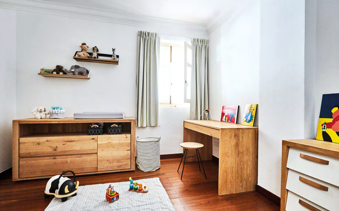 Baby Louis' room that leads off the second storey landing is simply furnished but cosy, allowing it to change according to the growing child's needs.