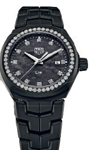 Ceramic and diamond  Bella Hadid Limited Edition Link watch, $8,400, TAG Heuer