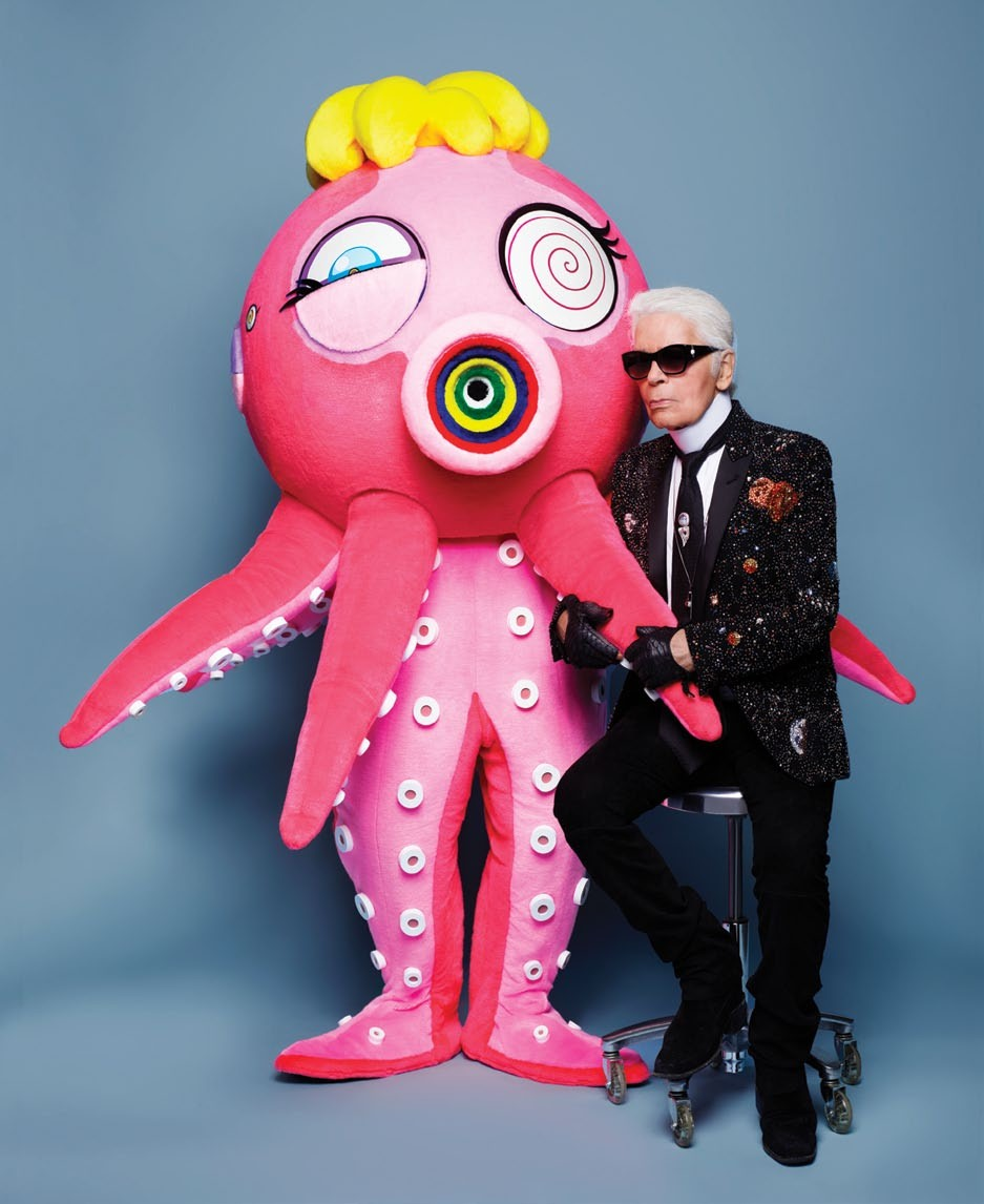 """Karl Lagerfeld with Taco 7, a character from Takashi Murakami's travelling exhibition """"The Octopus  Eats Its Own Leg"""