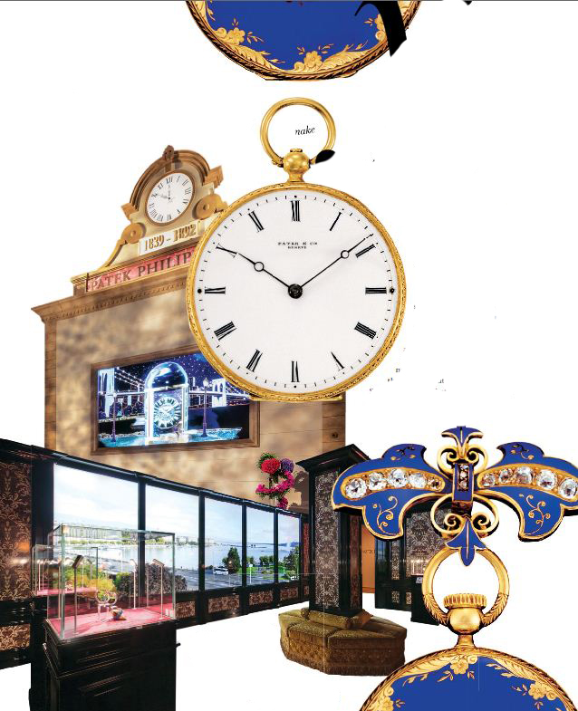 From left: Scenes from the exhibition in New York. An enamel and diamond pendant watch that was gifted to Queen Victoria