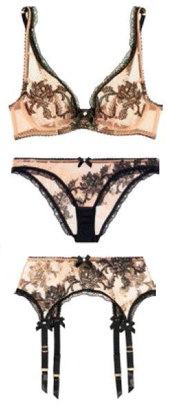 Agent Provocateur Luciela bra, $286, undies, $175, and suspender belt, $225