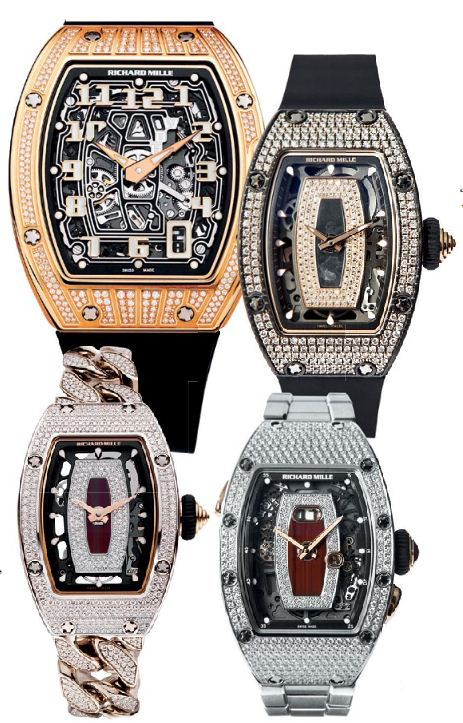 From top: Tim Malachard. Gold and diamond RM 67-01 Automatic Extra Flat watch; carbon TPT® and diamond RM 07-01; red gold and  diamond RM 07-01 open-link bracelet; white  gold and diamond RM 037, Richard Mille