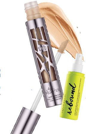 All Nighter Waterproof Full Coverage Concealer, $40; Rebound CollagenInfused Complexion Prep Priming Spray, $50, Urban Decay