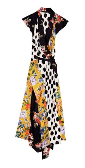 ZARA floral-print polka dot and patchwork dress, $119