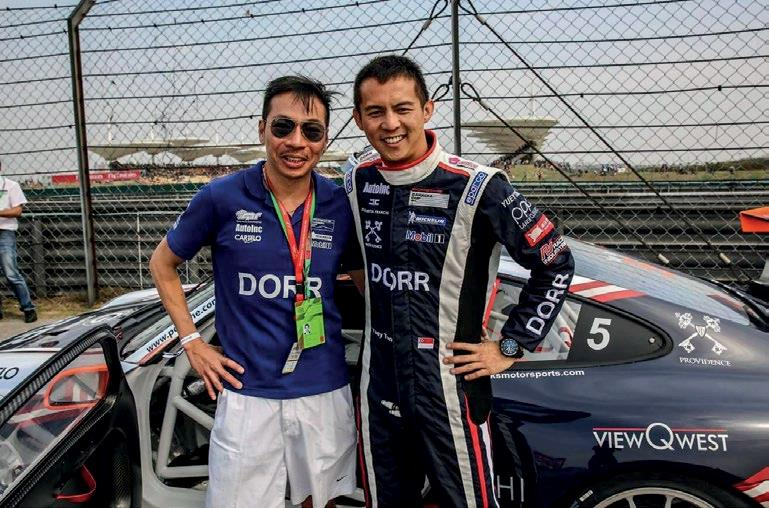 <b>RACING FUEL</b> Terence with professional race car driver Yuey Tan. Novena Global is backing Tan for this year's Porsche Europe Mobil 1 Supercup.
