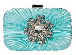 Polyester clutch with faux crystals, $56.90, Dorothy Perkins.