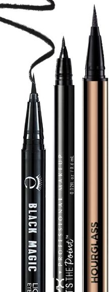 From Left: Eyeko Black Magic Liquid Eyeliner, $33. NYX Professional Makeup That's The Point Eyeliner in Hella Fine, $20. Hourglass Voyeur Waterproof Liquid Liner, $56.