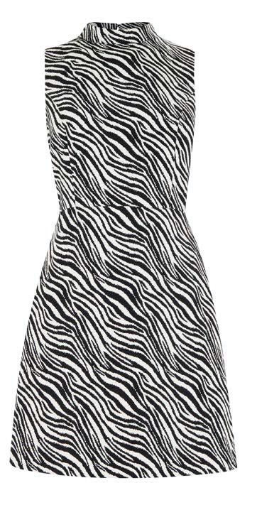 Warehouse zebra-print shift dress, $100