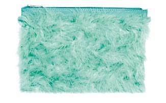 Faux fur clutch, $49.90, Zara.